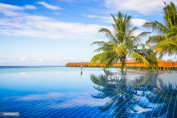maldives pool - vilamendhoo stock photos and pictures