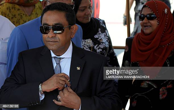 Maldives President Abdulla Yameen Abdul Gayoom attends a welcome ceremony at the Bandaranaike International Airport in Katunayake on January 21 2014...