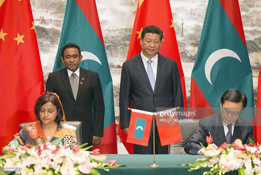 Maldives President Abdulla Yameen Back L And Chinese President Xi