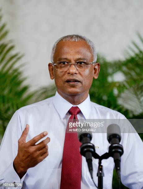 Maldives President Ibrahim Mohamed Solih addresses a newsconference about his recent trip to India at the presidential office in Male on December 19...