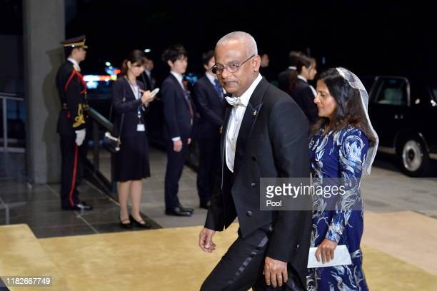 Maldives President Ibrahim Mohamed Solih and wife Fazna Ahmed arrive to attend the Court Banquet at the Imperial Palace on October 22 2019 in Tokyo...