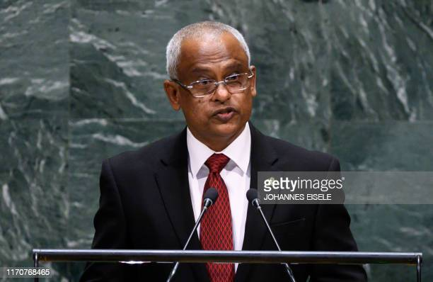 Maldives President Ibrahim Mohamed Solih speaks during the 74th Session of the United Nations General Assembly at UN Headquarters in New York...