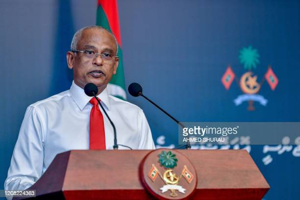 Maldives' President Ibrahim Mohamed Solih speaks to the nation about the latest preventive measures taken against the spread of the COVID19...