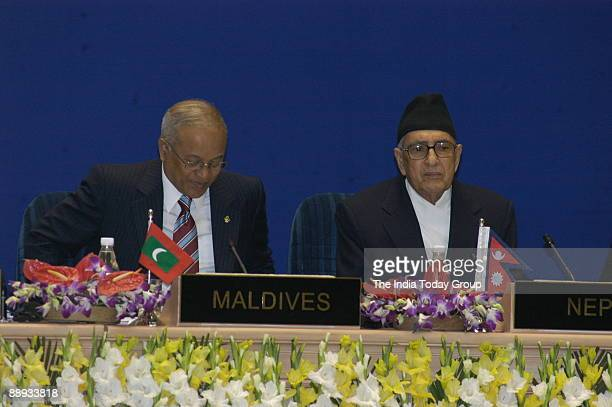 Maldives President Maumoon Abdul Gayoom with Nepal Prime Minister Girija Prasad Koirala at the ceremony of the 14th South Asian Association for...