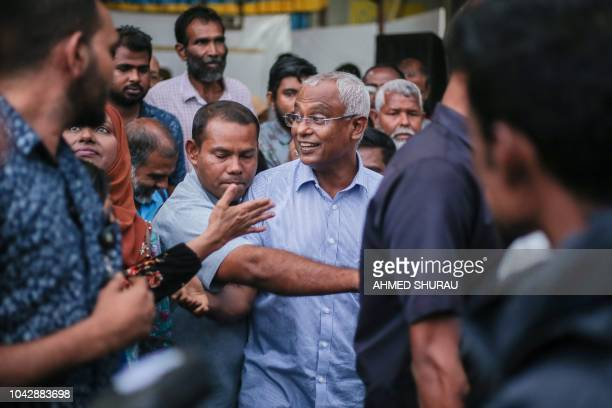 Maldives Presidentelect Ibrahim Mohamed Solih participates in celebrations after winning the presidential elections in Male on September 29 2018 The...