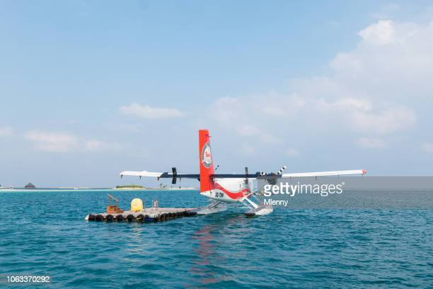Maldives Seaplane Anchored at Swimming Jetty Water Taxi