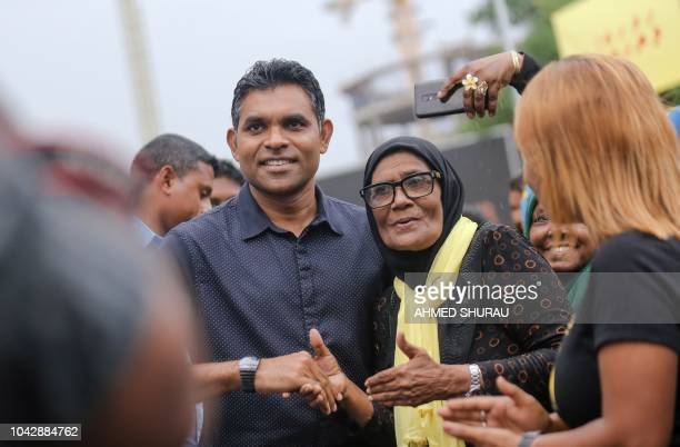Maldives Vice Presidentelect Faisal Naseem participates in celebrations after winning the presidential elections in Male on September 29 2018 The...