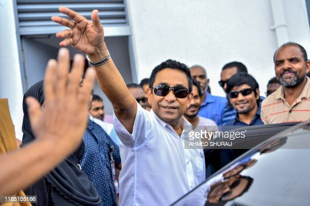 Maldives's former president Abdulla Yameen arrives at a criminal court for his trial in Male on November 28 2019 Disgraced Maldives expresident...