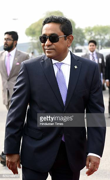 Maldivian President Abdulla Yameen Abdul Gayoom arrives at AFS Palam on April 10 2016 in New Delhi India Maldivian President is on a twoday visit for...