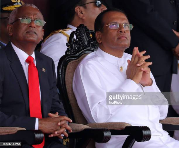 Maldivian President Ibrahim Mohamed Solih and Sri Lankan President Maithreepala Sirisena look up during the Sri Lanka's 71st Independence Day...