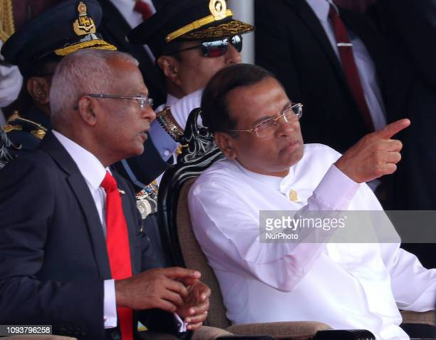 Maldivian President Ibrahim Mohamed Solih and Sri Lankan President Maithreepala Sirisena during the Sri Lanka's 71st Independence Day celebrations...