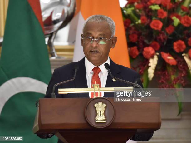 Maldivian President Ibrahim Mohamed Solih during a joint press statement with Prime Minister Narendra Modi at Hyderabad House on December 17 2018 in...