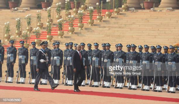 Maldivian President Ibrahim Mohamed Solih inspecting a joint military guard of honor during his ceremonial reception at the Indian presidential...