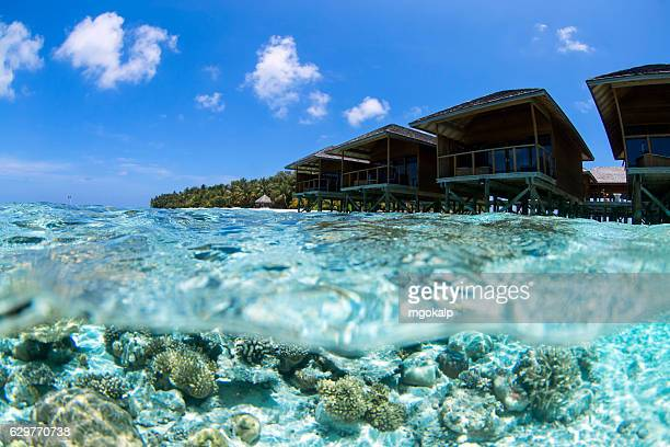 maldivian water houses - male maldives stock pictures, royalty-free photos & images