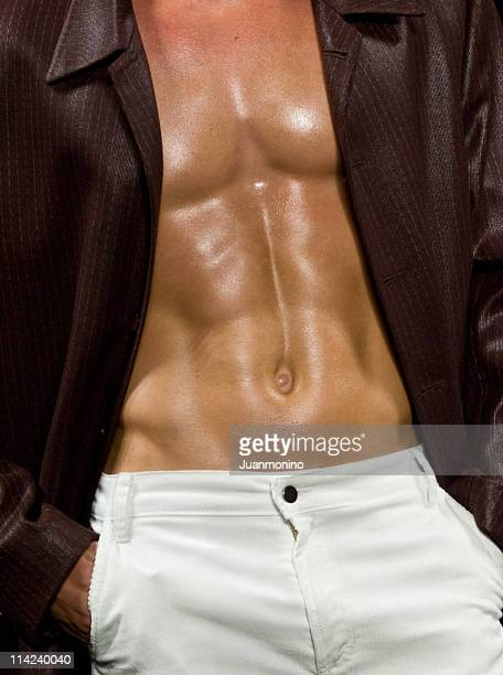 male abdominals - male belly button stock photos and pictures