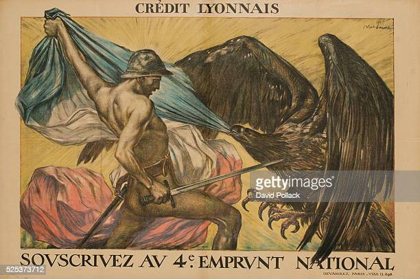 A male 'allegorical' figure armed with a sword pulling the French flag away from the Imperial eagle ca 1917