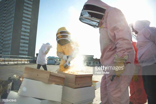 Male and female beekeepers using bee smoker on city rooftop