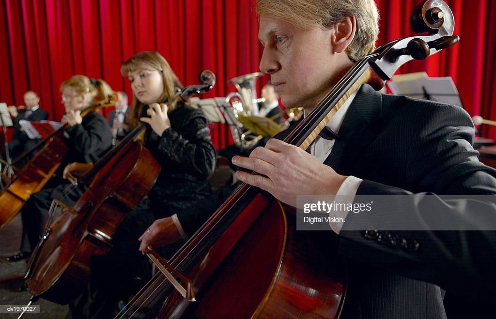 Male and Female Cellists Performing in an Orchestra : Stock Photo