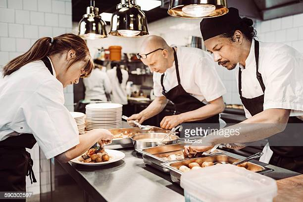 Male and female chefs preparing dishes in commercial kitchen