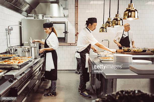 Male and female chefs preparing food in commercial kitchen