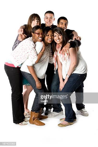 maschio e femmina, svariato gruppo di amici porti in insieme sorridenti. - foto di classe foto e immagini stock