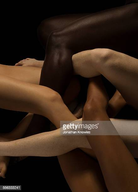 male and female legs of different colours - membre photos et images de collection