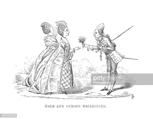 Male and Female Macaronies', c1870. A macaroni in mid-18th-century England was a fashionable man who dressed and even spoke in an outlandishly...