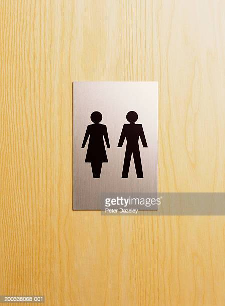 Male and female sign on toilet door, close-up