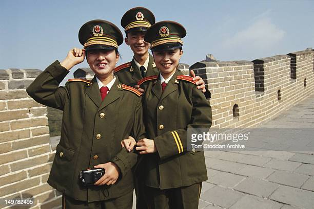 Male and female soldiers of the People's Liberation Army of China at the Great Wall Of China 1993
