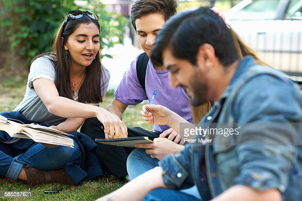 Male and female students sitting chatting and working on college campus