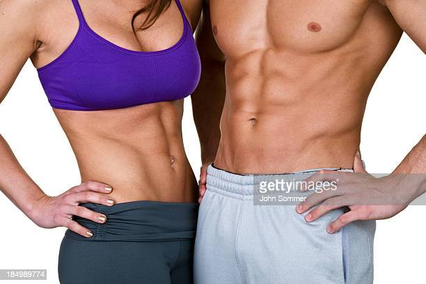 male and female waist for fitness concept - torso stock pictures, royalty-free photos & images