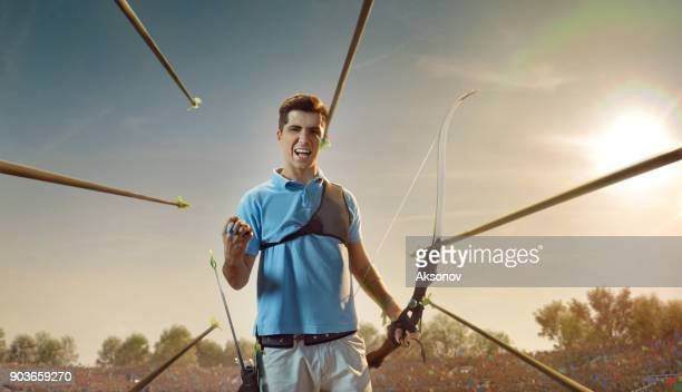 Male archer rejoices in victory in professional field