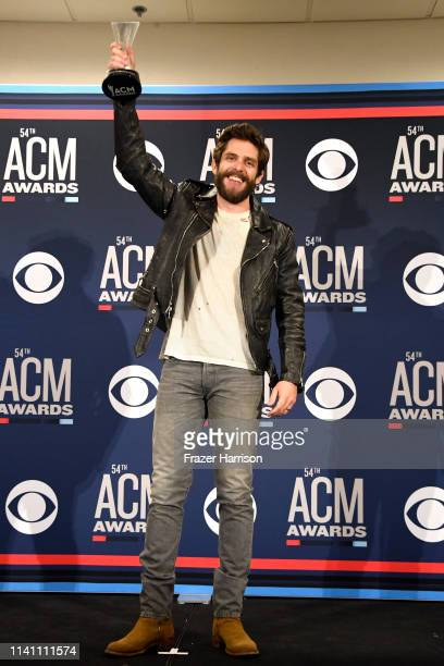 Male Artist of the Year award winner Thomas Rhett poses in the press room during the 54th Academy Of Country Music Awards at MGM Grand Garden Arena...