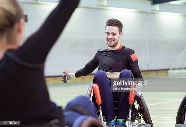 Male Athlete Celebrating During Wheelchair Rugby