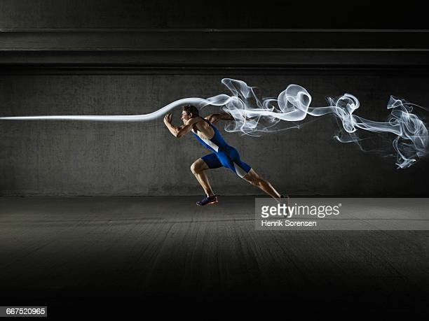 Male athlete in windtunnel