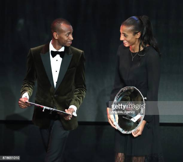Male Athlete of the Year Mutaz Essa Barshim of Qatar and female athlete of the year Nafissatou Thiam of Belgium pose during the IAAF Athletics Awards...