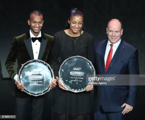Male Athlete of the Year Mutaz Essa Barshim of Qatar female athlete of the year Nafissatou Thiam of Belgium and Prince of Monaco Albert II pose...