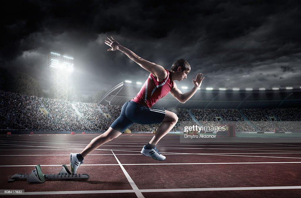 Atleta masculino esprint : Foto de stock