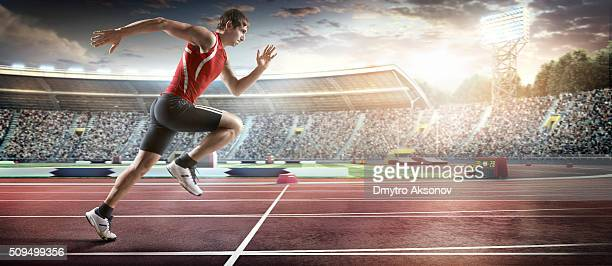Male athlete sprinting