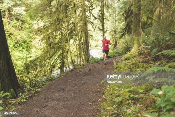 Male athlete trail running in forest
