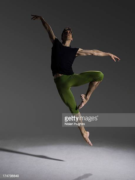 male ballet dancer Jumping in Passé