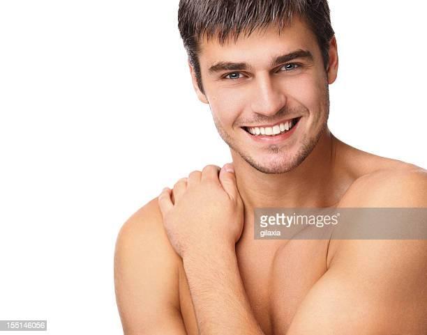 belleza masculina - hombre desnudo fondo blanco fotografías e imágenes de stock