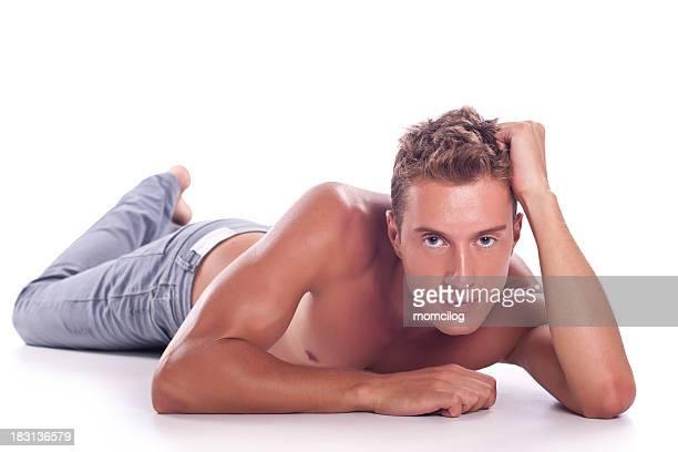 männliche körperpflege - halbbekleidet stock-fotos und bilder