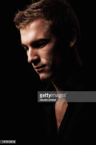 Male Beauty Portrait with Black Background