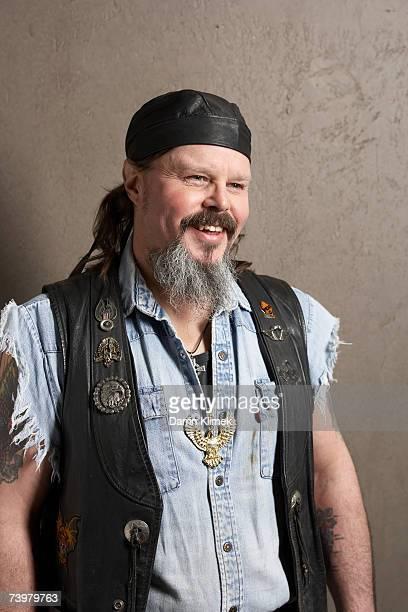 Male biker, smiling