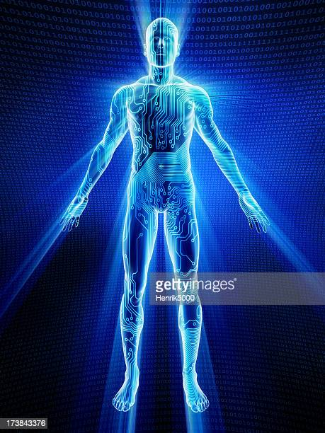 male body covered in electronic circuits - the human body stock pictures, royalty-free photos & images