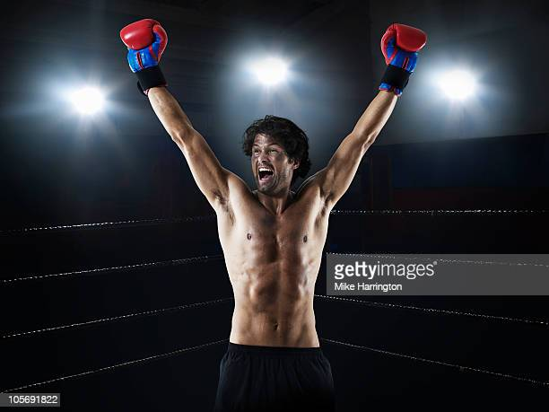 Male Boxer Celebrating His Victory