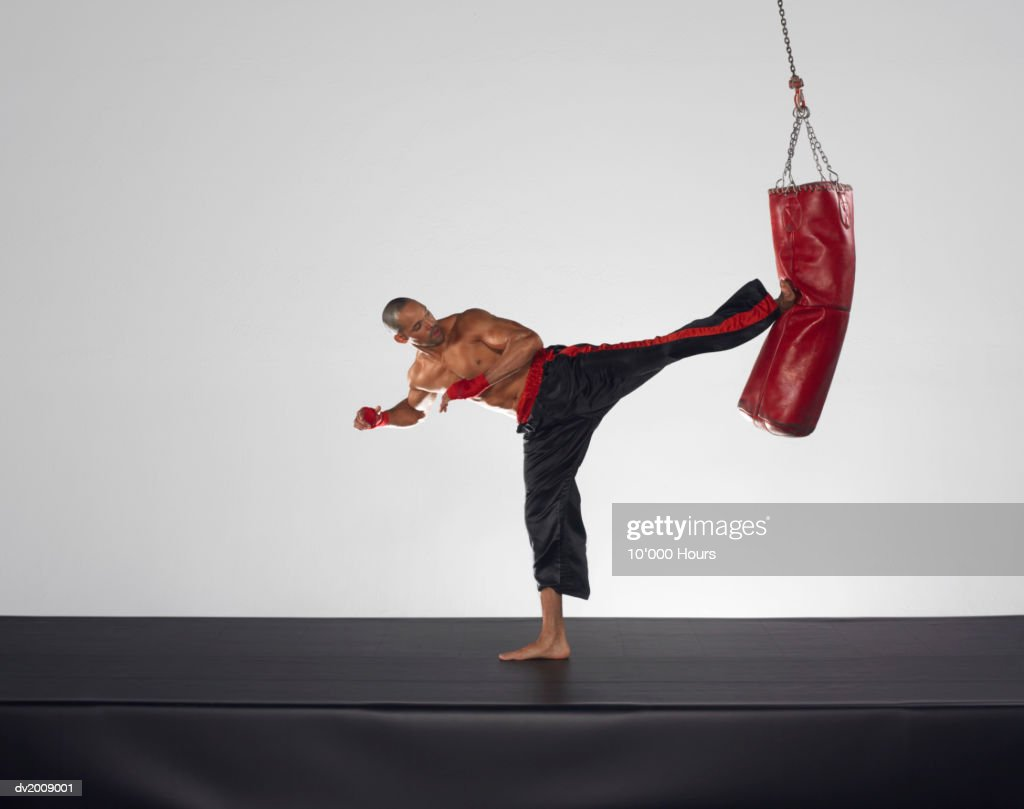 Male Boxer Kicking a Punch bag : Stock Photo