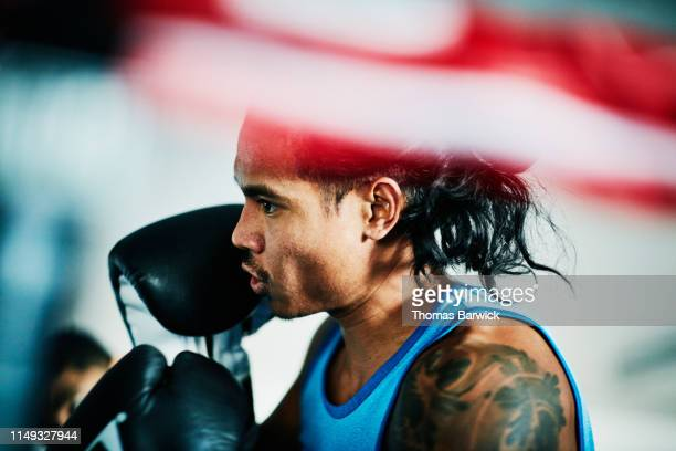 male boxer working out in ring in boxing gym - sports stock pictures, royalty-free photos & images