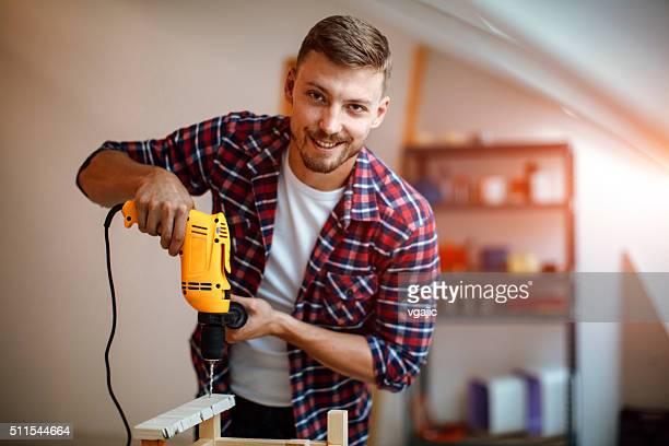 Male carpenter working